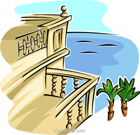 balcony view Royalty Free Vector Clip Art illustration arch0534