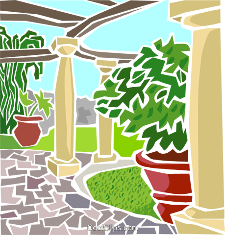 Outdoor patio Royalty Free Vector Clip Art illustration arch0541