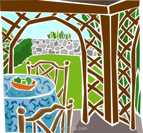 outdoor patio Royalty Free Vector Clip Art illustration arch0543