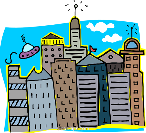 city scape Royalty Free Vector Clip Art illustration arch0554
