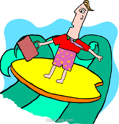 business man on surfboard Royalty Free Vector Clip Art illustration peop3913