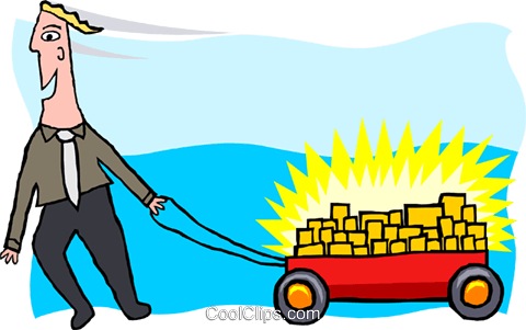 business man with wagon full of gold Royalty Free Vector Clip Art illustration peop3914
