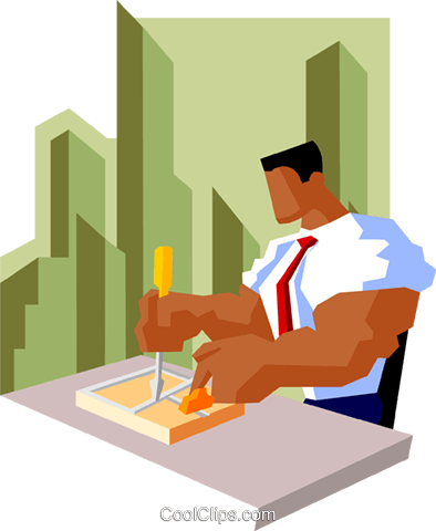 business man setting trap Royalty Free Vector Clip Art illustration peop3915
