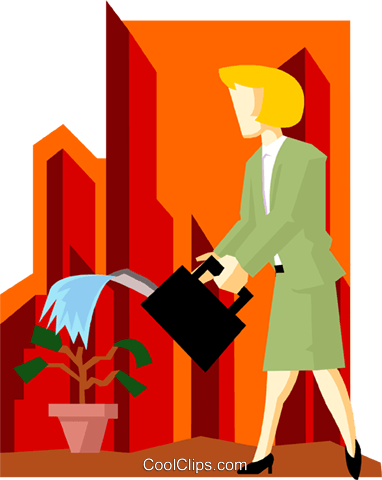 business woman watering money-tree Royalty Free Vector Clip Art illustration peop3916