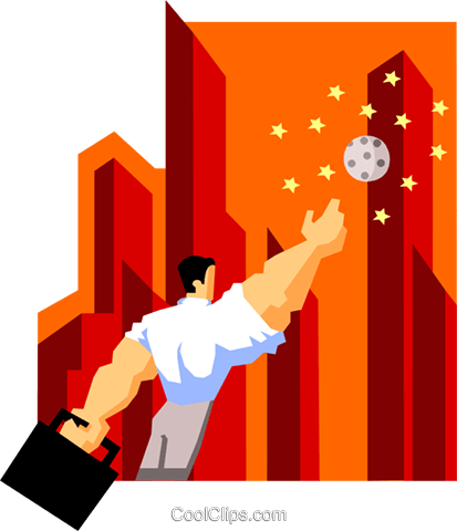 business man reaching for the stars Royalty Free Vector Clip Art illustration peop3918