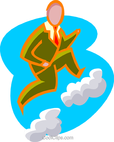 business cloud climbing Royalty Free Vector Clip Art illustration peop3931