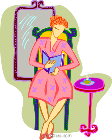 woman relaxing with tea and book Royalty Free Vector Clip Art illustration peop3935