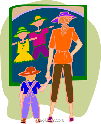mother and child looking at clothing store Royalty Free Vector Clip Art illustration peop3939