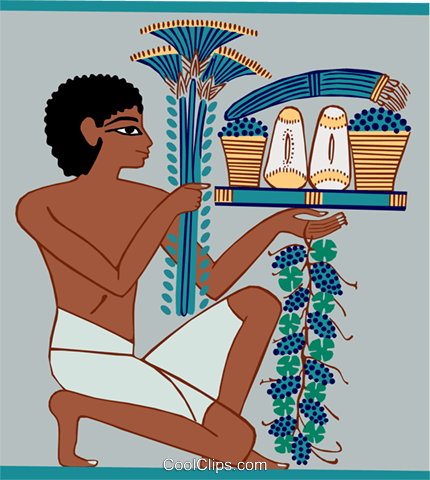 Egyptian man presenting food Royalty Free Vector Clip Art illustration peop3952