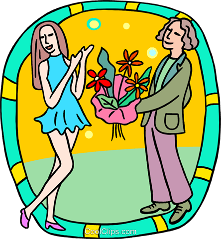 Bringing his date flowers Royalty Free Vector Clip Art illustration peop3969