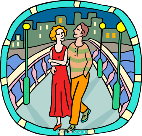 couple walking over a bridge Royalty Free Vector Clip Art illustration peop3970