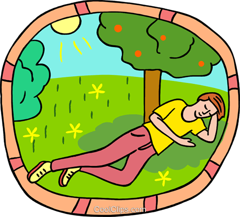Relaxing under a tree Royalty Free Vector Clip Art illustration peop3971