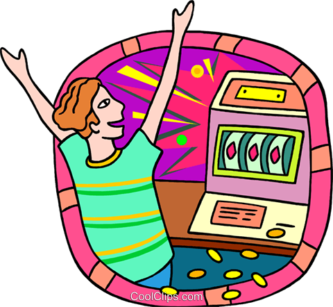 business winning at the slot machine Royalty Free Vector Clip Art illustration peop3972