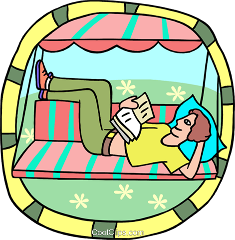 Man relaxing in a swinging bench Royalty Free Vector Clip Art illustration peop3973