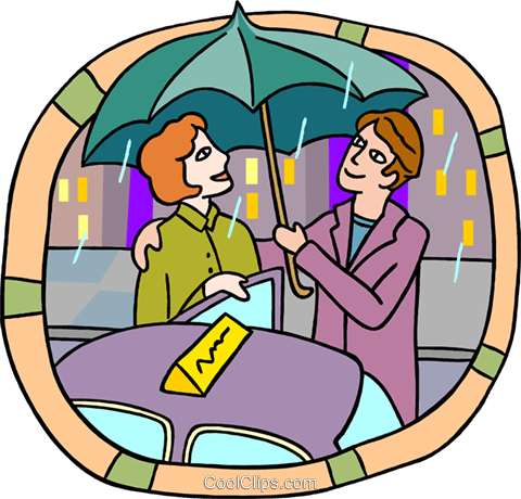 holding umbrella for date Royalty Free Vector Clip Art illustration peop3976