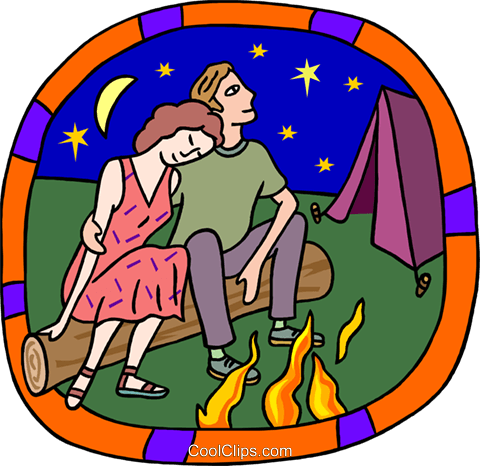 Couple by bonfire Royalty Free Vector Clip Art illustration peop3977