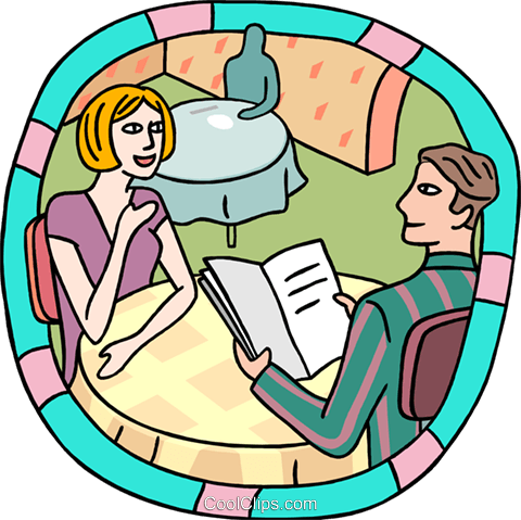 Couple at restaurant Royalty Free Vector Clip Art illustration peop3978