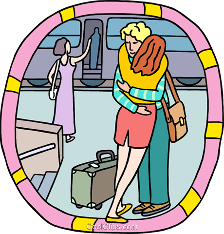 Farewell hug at train station Royalty Free Vector Clip Art illustration peop3979