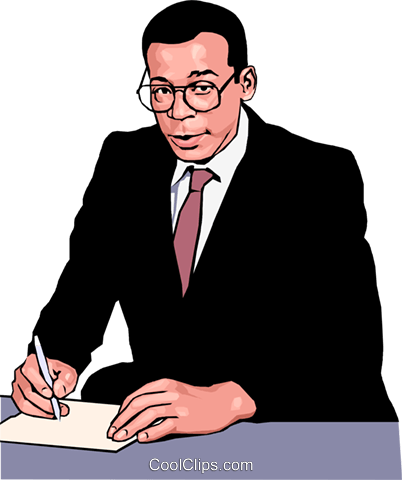 business man making notes Royalty Free Vector Clip Art illustration peop3984