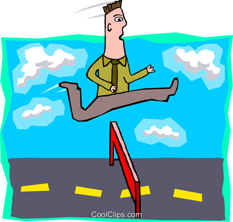 business man jumping hurdles Royalty Free Vector Clip Art illustration peop3985