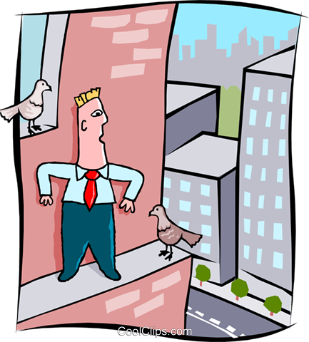 business man on ledge of building Royalty Free Vector Clip Art illustration peop3987