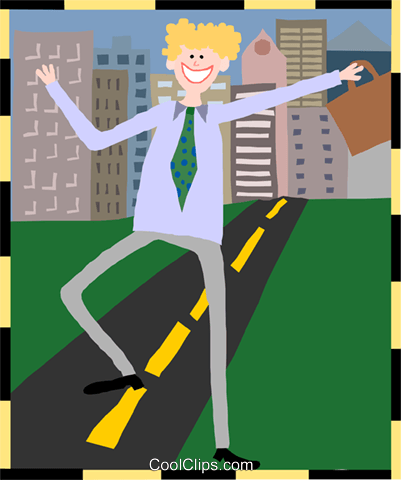 business man leaving city Royalty Free Vector Clip Art illustration peop3988