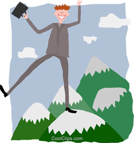 business man on mountain peak Royalty Free Vector Clip Art illustration peop3990