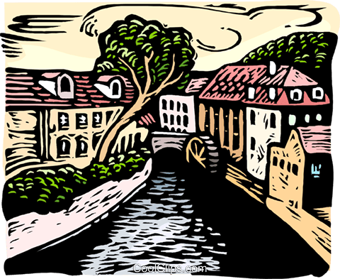 woodcut European cityscape Royalty Free Vector Clip Art illustration arch0555