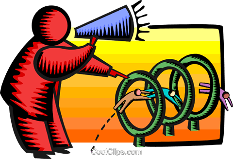 jumping through hoops Royalty Free Vector Clip Art illustration busi1745