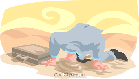 burying your head in the sand Royalty Free Vector Clip Art illustration busi1773