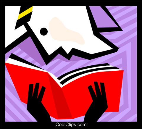 Person reading a book Royalty Free Vector Clip Art illustration busi1781