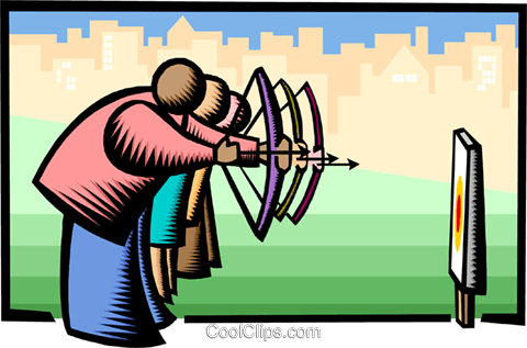 shooting for the same target Royalty Free Vector Clip Art illustration busi1804