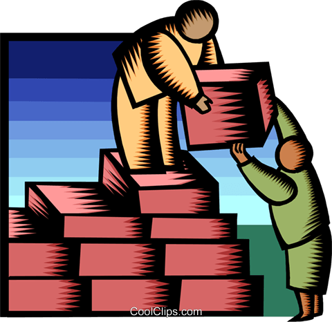 building blocks of success Royalty Free Vector Clip Art illustration busi1807