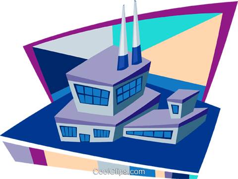 industry buildings Royalty Free Vector Clip Art illustration indu1003