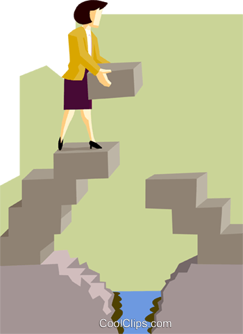 business woman building a bridge Royalty Free Vector Clip Art illustration peop3992