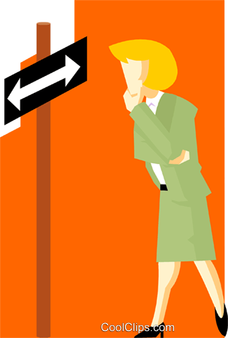 business woman choosing a direction Royalty Free Vector Clip Art illustration peop3993