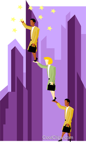 business women elevating to grab stars Royalty Free Vector Clip Art illustration peop3994