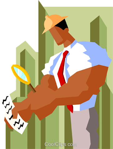 business man examining form Royalty Free Vector Clip Art illustration peop3995