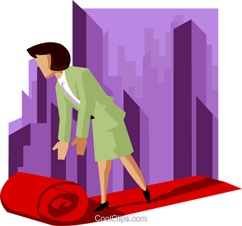 business woman rolling out red carpet Royalty Free Vector Clip Art illustration peop3998