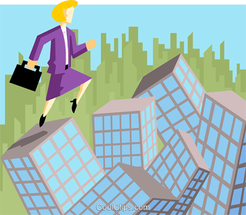 business woman leaping over buildings Royalty Free Vector Clip Art illustration peop3999