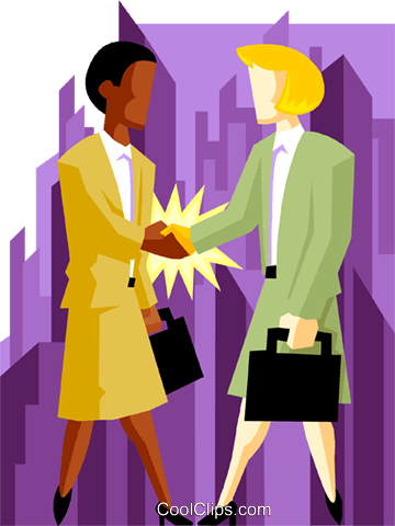 business women shaking hands Royalty Free Vector Clip Art illustration peop4003