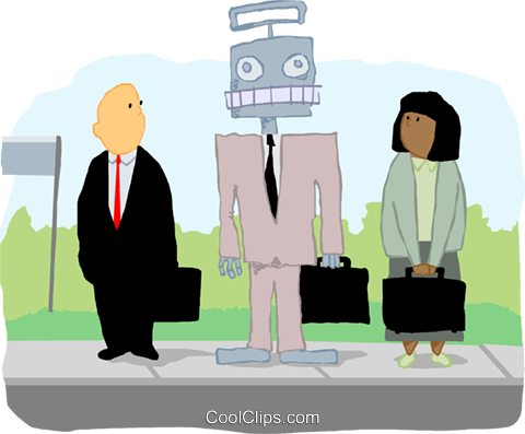 business people at bus stop with robot Royalty Free Vector Clip Art illustration peop4005