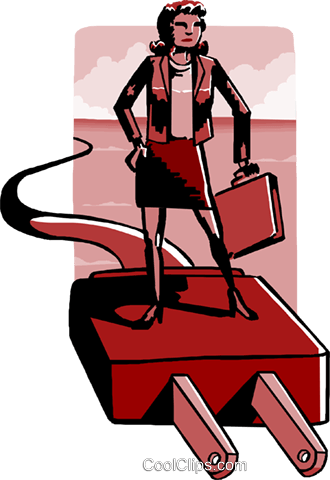 business woman on plug Royalty Free Vector Clip Art illustration peop4009