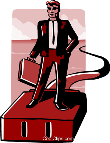 business man on plug Royalty Free Vector Clip Art illustration peop4010