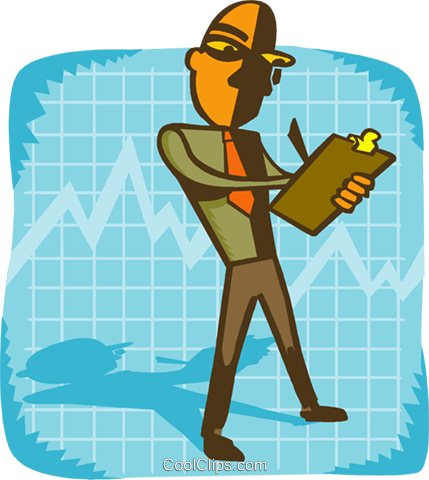 business man on graph with clipboard Royalty Free Vector Clip Art illustration peop4013