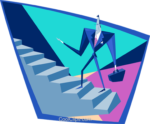 business man climbing stairs Royalty Free Vector Clip Art illustration peop4026