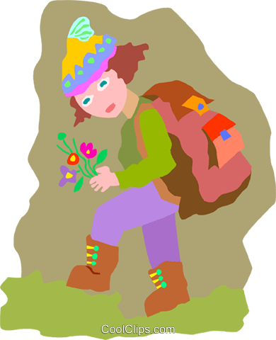 hiker with flowers Royalty Free Vector Clip Art illustration peop4028