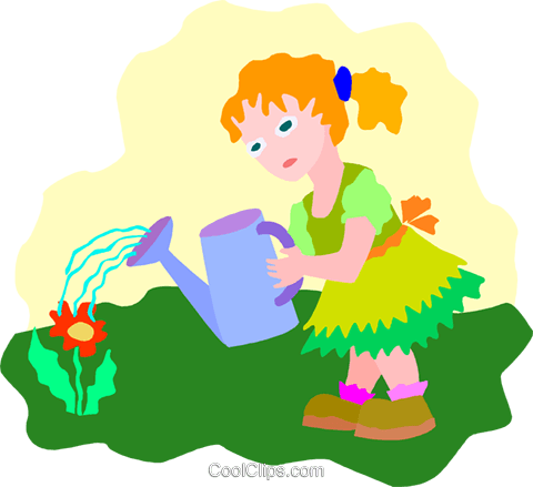 girl watering flower Royalty Free Vector Clip Art illustration peop4033