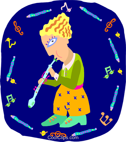girl playing flute Royalty Free Vector Clip Art illustration peop4034