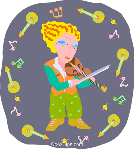 girl playing violin Royalty Free Vector Clip Art illustration peop4035